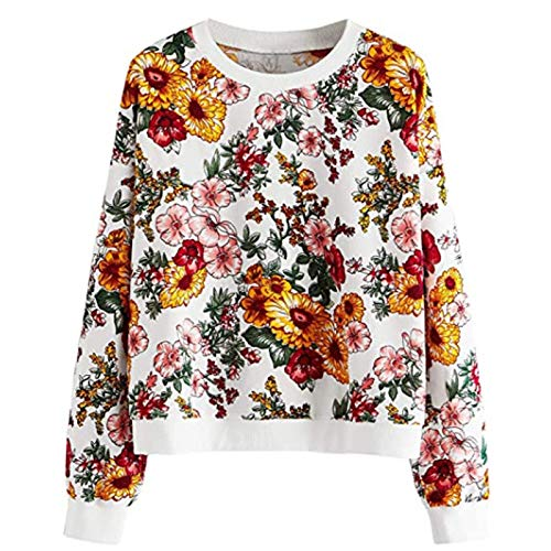 YSLMNOR Floral Sweatshirts for Womens Long Sleeve Blouses Round Neck Pullover Tops Spring Shirts Yellow