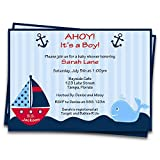 Nautical Baby Shower Invitations Anchors Away Stripes Boys Ahoy It's A Boy Navy Blue Red Whale Ship Sailboat New Plan Party Shower Customize (12 count)