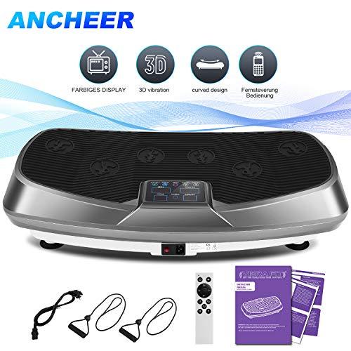 ANCHEER Vibrationsplatte 3D Vibrations Technologie for Fett Abbauen und Body Shaping von Hause,mit Leise Motor inkl. Stromkabel + Trainingsbändern + Fernbedienung (grau)
