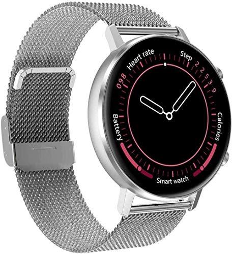Reloj inteligente Fitness Actividad Frecuencia Cardíaca Tracker Pantalla Táctil Bluetooth Smartwatch Monitor de Sueño Ip67 Impermeable Reloj Deportivo Blanco Uso Diario/Rosa-Plata
