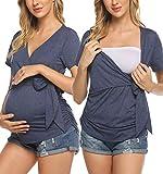 Lucyme Damen Umstandstop Umstandsshirt Mutterschaft Seite Geraffte Umstands Tanktop Loungewear Mama Basic Pyjama Shirts Maternity Umstandsmode top Schwangerschaft Kleidung