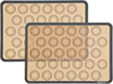 "2 non-stick silicone baking mats with macaron template for easy and convenient baking No need for oil, cooking sprays, or parchment paper Oven-safe up to 480 degrees F Features guide lines for 30 macaron halves for each sheet 11 5/8"" x 16 1/2"""
