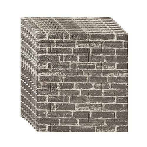 Gg.s Los paneles de pared de ladrillo despegar y pegar autoadhesivo 3D de espuma de piedra blanca con textura de imitación de papel pintado Azulejos for habitable dormitorio La televisión de fondo Dec