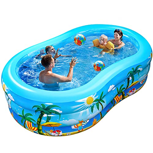 iBaseToy Inflatable Swimming Pool, 240 x 150 x 60cm Large Family Inflatable Pool for Kids Adults Babies Toddlers, Family Paddling Pools for Indoor Outdoor Backyard Garden, for Ages 3+