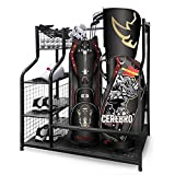 Mythinglogic Golf Storage Garage Organizer, Dual Golf Bag Storage Stand and Other Golfing Equipment Rack & 4 Removable Hooks, Extra Large Design for Golf Clubs Accessories