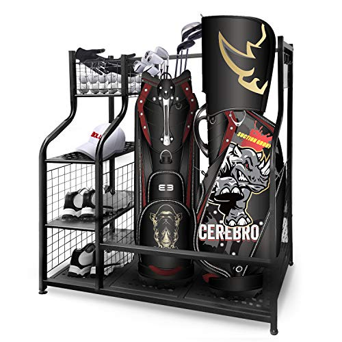 Mythinglogic Golf Storage Garage Organizer,2 Golf Bag Storage Stand and Other Golfing Equipment Rack & 4 Removable Hooks, Extra Large Design for Golf Clubs Accessories
