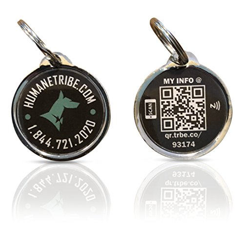 [Updated 2021] Humane Tribe Smart Pet ID Locator Tag | Real-Time Text SMS Alerts | Email Alert with Location Sharing | Tag Syncs with Online Pet Profile | No Batteries or Subscription Required