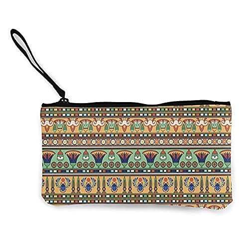 1 estuche de lona para lápices de cosméticos, bolsa de maquillaje, lindos lápices de dinero, motivos étnicos egipcios, figuras de escarabajo de flores