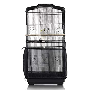 ASOCEA Cage à oiseaux Attrape-graines Parrot Cage Net Jupe Couverture universelle de cage à oiseaux Couverture de filet en nylon de cage à oiseaux- Noir (à l'exclusion de la cage à oiseaux)