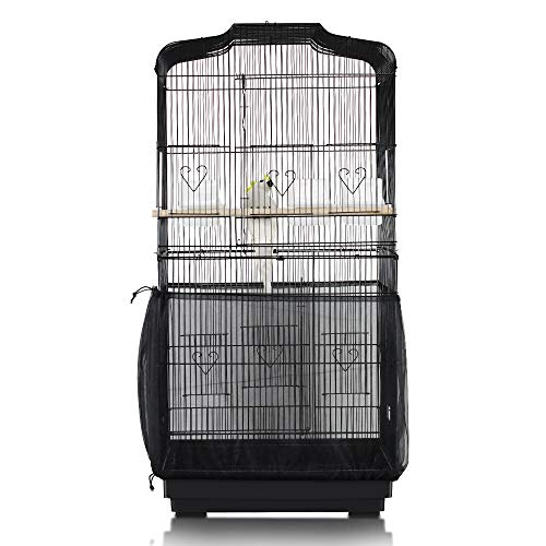 ASOCEA Bird Cage Seed Catcher Parrot Cage Mesh Skirt Universal Birdcage Cover Birdseed Nylon Net Guard extra large - Black (Not Include Birdcage)