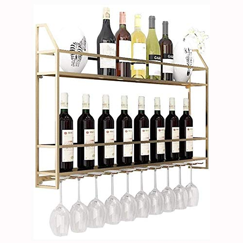 Zuoao Weinkeller Möbel Weinglashalter, Doppelflaschenhalter Wandmontage Metallwürfel freistehende Metallwürfel Weinregal Flaschenhalter Wandgestaltung,Gold