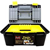 16' Plastic toolbox for Storage - Tool Box with Removable Tool Tray - Plastic tool box with Handle, Suitable for Commercial, Industrial, Home Tool Storage and Carrying Applications