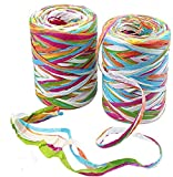 2 Rolls Colored Paper String Raffia Ribbon 160Meters/524 Feet Ribbons with 6 Colors Paper Perfect for Gift Box Wrapping, DIY Art Decoration, Party Decor and Craft Projects