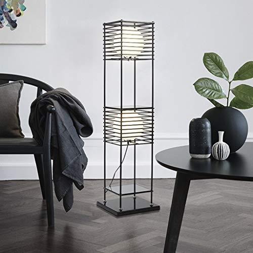 Vloerlamp met plank, 2 lagen ijzeren plank staander moderne leeslamp slaapkamer woonkamer kantoor home-decoratie lamp M20-03-06