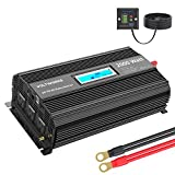 Power Inverter 2000w DC 12V to AC 120V Modified Sine Wave Inverter with LCD Display Remote Control and 3AC Outlets Dual 2.4A USB...