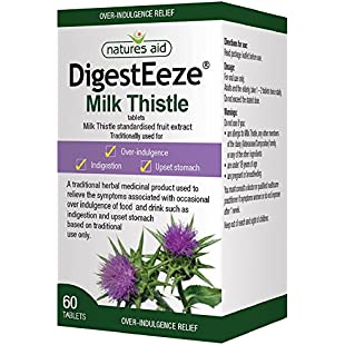 Natures Aid DigestEeze Milk Thistle, 60 Tablets (Relief of Over-Indulgence, Indigestion and Upset Stomach, Equivalent to 2750-6600 mg Milk Thistle, Made in the UK, Vegan Society Approved)