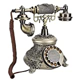 Garsentx Teléfono clásico Vintage, Esfera giratoria de Resina, teléfono Fijo Antiguo con Cable, teléfono Decorativo de Escritorio para la Oficina del Hotel en casa