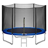 10FT Trampoline with Enclosure and Ladder Outdoor Backyard Trampoline with Jumping Mat and Spring Cover Pad ASTM Approved Recreational Trampoline for Kids Family Happy Time (600)