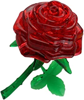 LBSX DIY 3D Crystal Puzzle Lovely 3D Rose Flower Crystal DIY Puzzle Educational Toy,Blue enchantress (Color : Red rose)