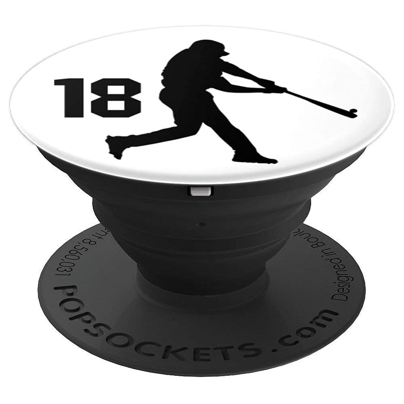 Number 18, #18, Baseball Gifts for Men, Boys, Teens, Women, - PopSockets Grip and Stand for Phones and Tablets rmhr696861910696