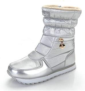 79104dc23 Snow Boots Women Winter Pointed Toe Ankle Boots Waterproof Lightweight Warm  Fleeces Flat Platform Shoes
