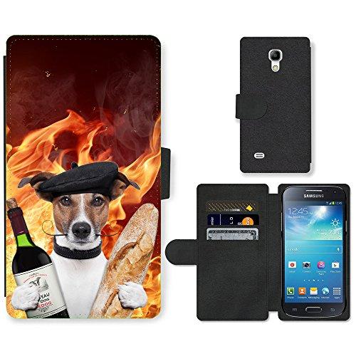 Grand Phone Cases PU Leather Flip Custodia Protettiva Case Cover per // Q05590665 Vino Baguette Fiamma // Samsung Galaxy S4 Mini i9190