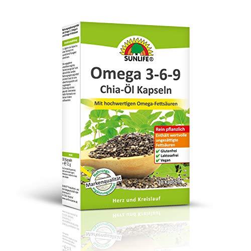 SUNLIFE Omega 3-6-9 Chia-Öl Kapseln: Hochwertige Omega-Fettsäuren für Herz und Kreislauf, rein pflanzlich, 30 Kapseln
