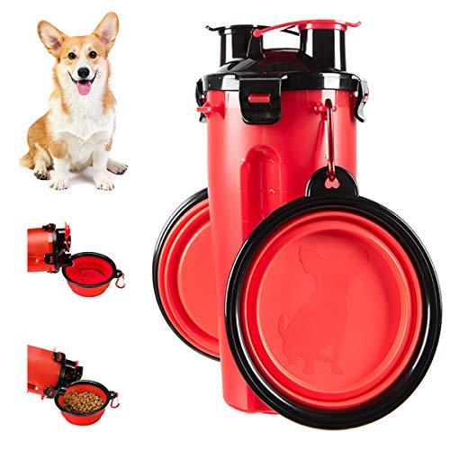 Botella de Agua para Perros Portátil 2 en 1 Envase de Comida para Perro 2 Plegable Tazones para Mascotas Bebedero dispensador Mascotas al Aire Libre Caminar Viajar Cámping Paseo Senderismo (Rojo)