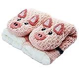 CityComfort Slipper Socks 3D Nouveauté Animal mignon tricoté Pantoufles très chaudes Laine d'hiver douce (cochon rose)
