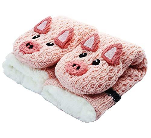 CityComfort Slipper Socken 3D Neuheit niedlichen Tier gestrickte extra warme Hausschuhe super weiche Winter Wolle (Rosa Piggy)