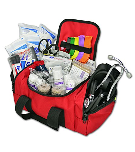 Lightning X Value Compact Medic First Responder EMS/EMT Stocked Trauma Bag w/Standard Fill Kit B - RED