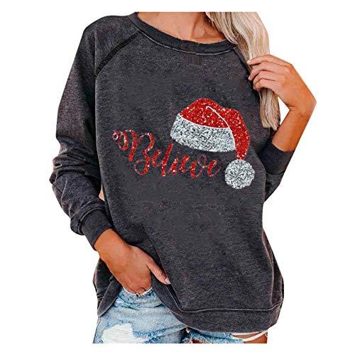 Feliz Navidad#Animales con Sombrero de Navidad,Camisetas de Manga Larga con Cuello Redondo para Mujer Blusas...