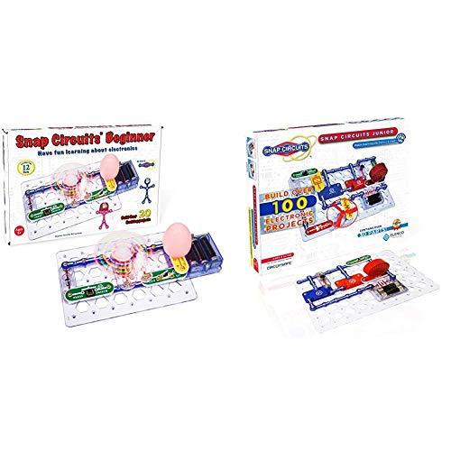 Snap Circuits Beginner, Electronics Exploration Kit, Stem Kit for Ages 5-9 (SCB-20) & Elenco Jr. SC-100