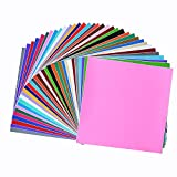 Permanent Adhesive Backed Vinyl Sheets 12'x12'-40 Sheets Assorted Colors (Matte and Glossy) for Cricut,...