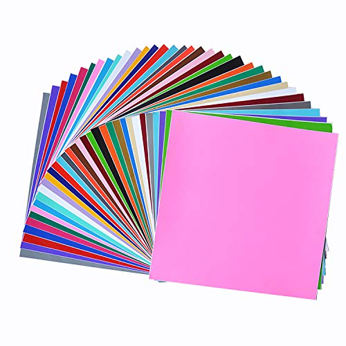 Permanent Adhesive Backed Vinyl Sheets 12'x12'-40 Sheets Assorted Colors (Matte and Glossy) for Cricut, Silhouette Cameo, Craft Cutter Machine, Printers, Letters, Car Decal, Decor Sticker, Vinyl Paper