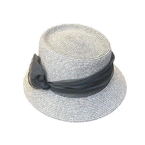 HSRG Hats Womens Pliable Réglable Floppy Summer Sun Plage Paille Chapeaux Large Bord,Gray