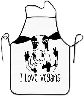 Wnocdmv I Love Vegans Cow Kitchen Apron For Women Vintage Apron Dress Men Cooking Apron Pinafore