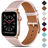 CeMiKa Correa de Cuero Compatible con Apple Watch Correa 38mm 40mm 42mm 44mm, Correas de Repuesto de Cuero Genuino Compatible con iWatch SE/Series 6 5 4 3 2 1, 38mm/40mm, Rosado/Oro Rosa