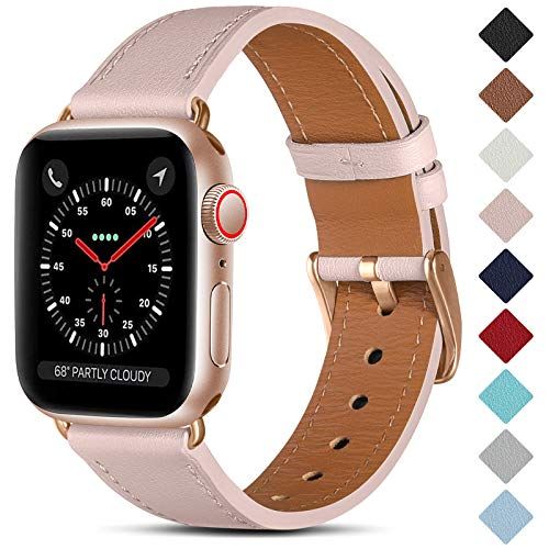 CeMiKa Bracelet en Cuir Compatible avec Apple Watch Bracelet 38mm 40mm 42mm 44mm, Cuir Véritable Bande de Remplacement Compatible avec iWatch Se/Séries 6 5 4 3 2 1, 38mm/40mm, Rose/Or Rose