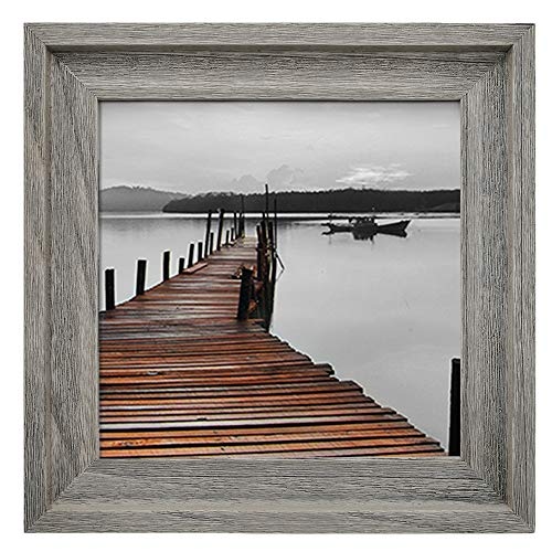 Eosglac Rustic 10x10 Picture Frame, Wooden Farmhouse Square Photo Frames, Solid Wood with Plexiglass Front, Tabletop or Wall Mounting Display, Weathered Grey