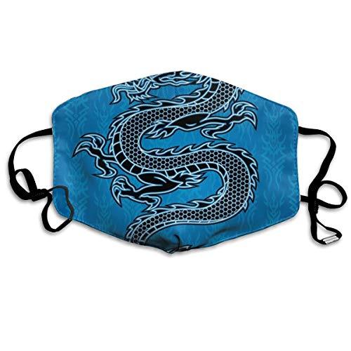 MundschutzAtmungsaktiveGesichtsmundabdeckungStaubdichter,Black Dragon On Blue Tribal Background Year of The Dragon Themed Art,Gesichtsdekorationen