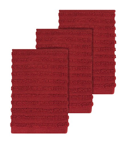 Ritz Royale Collection 100% Combed Terry Cotton, Highly Absorbent, Kitchen Dish Cloth Set, 13-3/4' x 12', 3-Pack, Solid Paprika Red