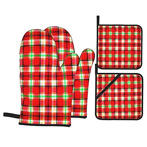 Juegos de Manoplas y Porta ollas para Horno,Textura Abstracta Patrón Cuadros Multicolor Moda Guantes de Cocina Resistentes al Calor para Hornear en la Cocina, Parrilla, Barbacoa,BBQ