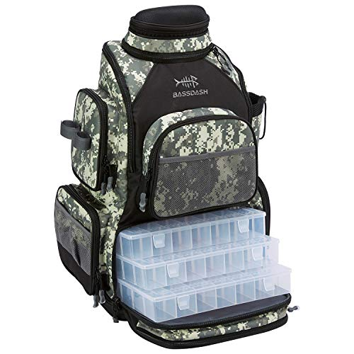 Bassdash Fishing Tackle Backpack Water Resistant Lightweight Tactical Bag Soft Tackle Box with Rod Holder and Protective Rain Cover (Jungle Camo Backpack [3670] with 4 Trays)