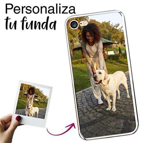 Mookase Funda Carcasa Personalizada para tu móvil iPhone 7 con Foto, Imagen o Texto. Gel Flexible, Bordes Transparentes