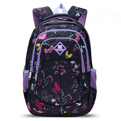 Bebamour Kinder Rucksack Schultasche Rucksack für Mädchen Schmetterling und Schatz Muster Kinder Rucksack (Lila)