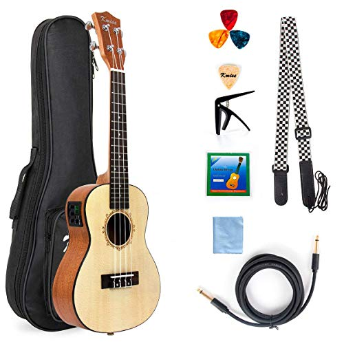 Electric Ukulele Solid Spruce Concert Ukelele 23 Inch Uke Hawaii Guitar with Professional Guitar Cable and Starter Kit From Kmise
