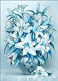 Kit de pintura de diamantes 5D por número, DIY 5d diamond painting,Cuadros punto de cruz kit Bordado Mosaico para la decoración del hogar con Herramientas Accesorios (30 x 40 cm), Flor de lirio