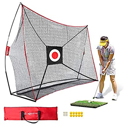 Keenstone 10x7ft Portable Golf Net Golf Practice Net for Indoor and Outdoor Hitting Driving and Chipping Practice with Tri Turf Hitting Mat, 4 Wooden Tees, 10 Foam Practice Balls, and Carry Bag