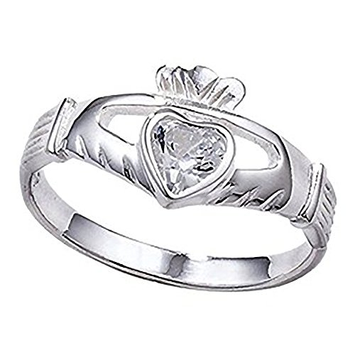 Irish Celtic Claddagh Sterling Silver Band Ring With Large Sparkling CZ Stone - Irish Celtic Jewellery – Size N